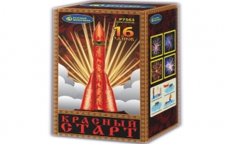 "Батарея салютов  Р7563 Красный старт (1,25"" х 16)"